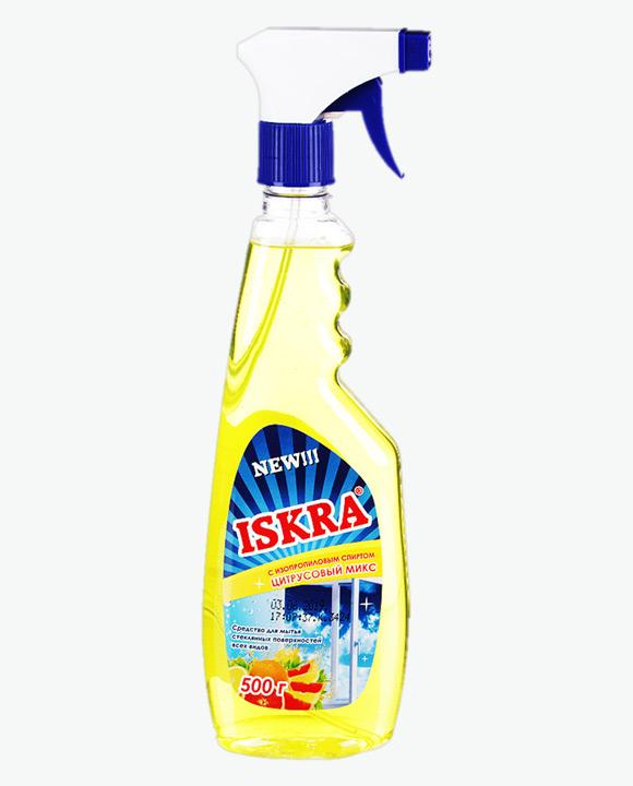 Средство для мытья стекол БАРХАТ ИСКРА с изопропиловым спиртом Цитрусовый Микс с курком
