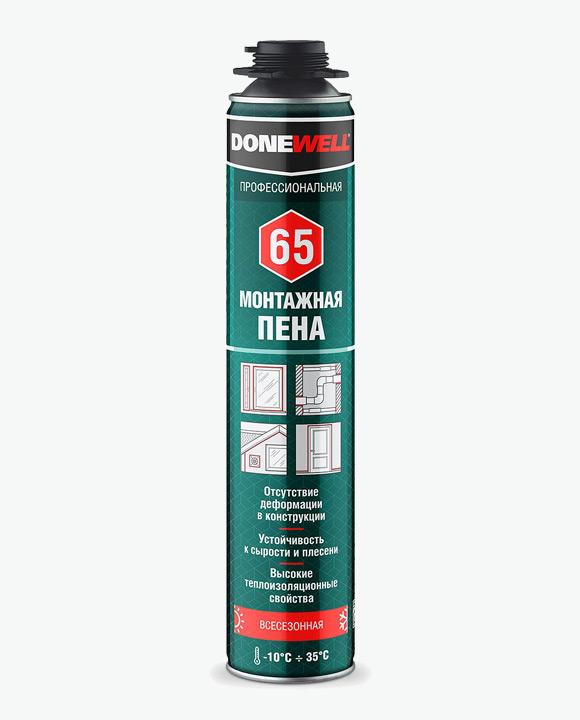 Пена полиуретановая монтажная профессиональная всесезонная DONEWELL 65 DPP10U65