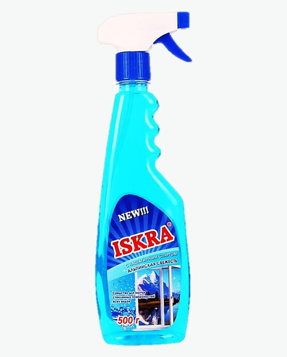 Средство для мытья стекол БАРХАТ ИСКРА с нашатырным спиртом спиртом Альпийская свежесть с курком