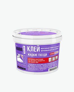 Клей монтажный «Жидкие Гвозди» KUDO на акриловой основе универсальный, морозостойкий 1 кг. ( ведро)